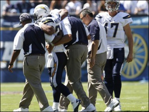 Ryan Mathews being helped off the field